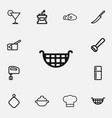 set of 12 editable cook outline icons includes vector image vector image