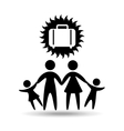 silhouette family vacation suitcase icon vector image vector image