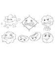 Silhouettes of the faces of different monsters vector image vector image