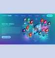 social media flat 3d isometric concept icon vector image vector image