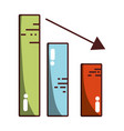 statistic bar with arrow down to business company vector image vector image