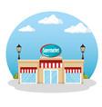 supermarket building scene icon vector image vector image
