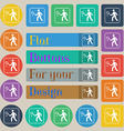 Tennis player icon sign Set of twenty colored flat vector image