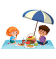 two kids having picnic on white background vector image vector image