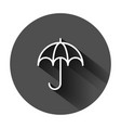 umbrella icon in flat style parasol on black vector image