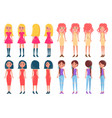women in fashionable outfits girl in color dresses vector image vector image