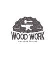 wood work vintage retro logo design inspiration vector image