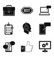 work computer icons set simple style vector image vector image