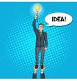 Pop Art Businessman with Lightbulb Team Work vector image