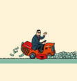 a businessman cuts money with a lawn mower vector image vector image