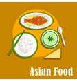 Asian dinner dishes of thai cuisine vector image vector image