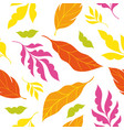 autumn leaves tree seamless floral pattern vector image