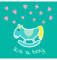 Baby boy shower card with cute horse Flat design vector image vector image