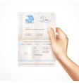 biometric passport mockup in human hand vector image vector image