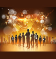bitcoin concept silhouette group of business vector image