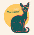 black cat and big moon hand drawn color halloween vector image