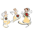 Brides or bridesmaids silhouettes with flowers vector image