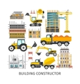Building Elements Flat Constructor vector image vector image