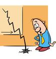 businessman and economic crisis cartoon vector image