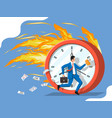 businessman is fast running on big clock vector image