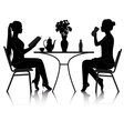 cafe girls silhouette vector image