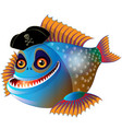cartoon piranha vector image vector image