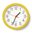 classic round wall clock in yellow body isolated vector image vector image