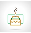 Color simple line festive cake icon vector image vector image