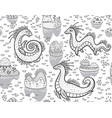 contour seamless pattern with loch ness monsters vector image vector image