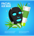 cosmetic facial sheet aloe mask card or poster vector image vector image