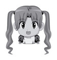 cute cartoon anime little girl chibi character vector image vector image