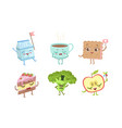 cute funny food characters set milk packaging vector image vector image