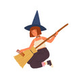 cute girl in witch hat sitting and combing broom vector image