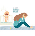 depressed young woman with cute baby postpartum vector image