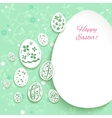 Easter eggs on green background vector image vector image