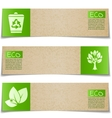Eco banners with green signs on white background vector image vector image