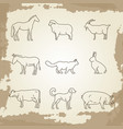 farm animals thin line icons vector image vector image