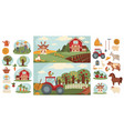 farm household or farmer agriculture and cattle vector image vector image