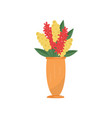 flat icon of tall vase with bright red and vector image