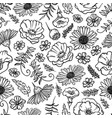 flower sketch monochrome seamless pattern vector image