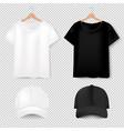 front views t-shirt and baseball cap on vector image vector image