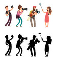 funny professional photographer with camera photo vector image vector image