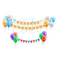 group balloons with hanging flags and confetti vector image vector image