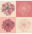 hand-drawn flowers dahlia set four vector image vector image