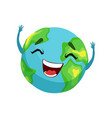 happy earth planet character cute globe with vector image