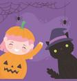 happy halloween pumpkin girl with cat costume vector image vector image