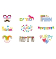 happy purim i hebrew and english vector image vector image