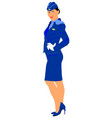 happy stewardess in blue formal wear smiling vector image