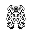 head medusa greek goddess front view mascot vector image