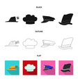 isolated object of headwear and cap icon set of vector image vector image